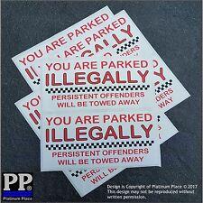 8 X que está estacionado ilegalmente RUEDAS SUJECIÓN, Abrazadera-Coche, Furgoneta, Aparcamiento Pegatinas Signos