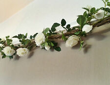 Artificial White Rose & Twig Garland, String of Ivory Faux Silk Flowers, Wedding