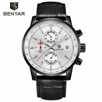 BENYAR 30M Water Resistant Leather Band Strap Men Pilot Quartz Wrist Watch Gift