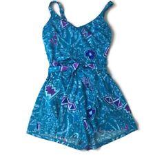 Vintage Maxine of Hollywood Swimsuit One Piece Shorts Geometric Blue 16 B9
