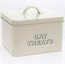 Cream Metal Cat Treats Storage Box 18 x 15 x 12 cm