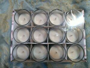 MSC) Set of 12 Ashland Basic Elements Tea Light Votive Candles in Shot Glasses