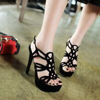 Women Stiletto Hollow Heels Ankle Sandals Peep Toe Platform Pump Fashion Shoes
