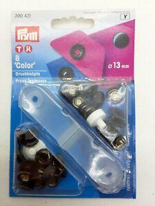 Prym 8 Color Druckknökpfe schwarz Druckknopf nähfrei mit Werkzeug 390421 13 mm