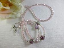 PINK WILD ROSE Swarovski Bi-Cone Shaped Crystal Beaded Eyeglass Chain~Holder
