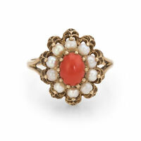 Red Coral Cultured Pearl Cocktail Ring Vintage 9k Gold English Hallmark Jewelry