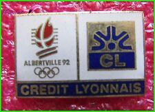 Pin's JO Jeux Olympique Albertville 1992 Avec Sponsor Credit Lyonnais  #522