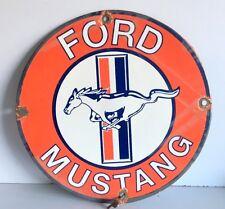 Vintage Genuine Ford Mustang Old Rare Enamel Porcelain 14'' Sign Board