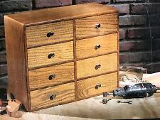 Falconer Small Storage Chest Cabinet Machinist Tool Organizer Wooden Oak Box NEW