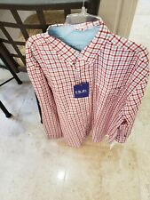 HUK MENS TIDE POINT L/S WHITE GRAY RED WOVEN PLAID FISHING SHIRT X-LARGE NWT
