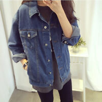 Spring Women Denim Coat Turn Down Collar Jacket Loose Casual Girls Jeans Outwear