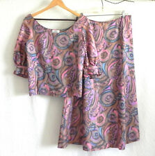 Vtg Vegue Couturier 2PC Half Sleeve Top/Maxi,A-Lined Skirt Multi-Color Size M