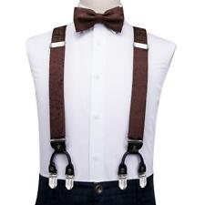 Mens Braces Brown Floral 6 Clips Heavy Duty Elastic Suspenders Bow Tie Set