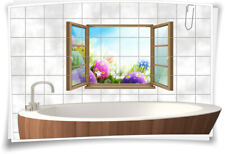 Fliesen-Aufkleber Fliesen-Bild Fenster Oster-Eier Bunt Grass Ostern Fest Bad WC