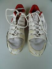 WORN MENS TENNIS SHOES WHITE + RED SIZE UK11