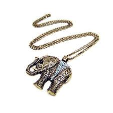Collar Largo Bronce Colgante de Elefante con Cristal Transparente Estilo Antiguo