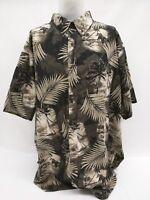Harbor Bay Black Green Bamboo Forest Scene Men's SS Camp Shirt Size 3X
