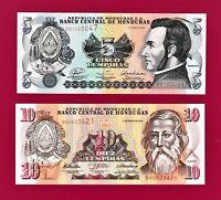 Two Honduras UNC Notes: 5 Lempiras 2008 (P-91b) & 10 Lempiras 2010 (Pick- 86e)