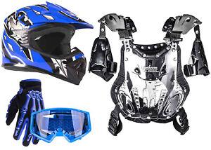 Youth Kids PeeWee Chest Protector 50-75lb Helmet Combo Blue Motocross Gloves DOT