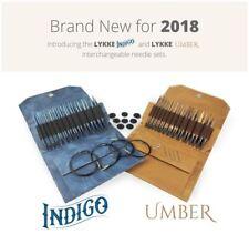 "Lykke 5"" Long Tip Indigo or Umber Interchangeable Knitting Set"