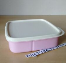 Tupperware Lunch Square Divided Packette Lunch Box Pastel Pink Color  New