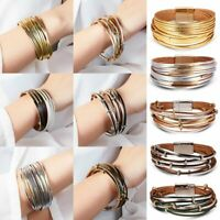 Women Multilayer Leather Magnet Wrap Cuff Bracelet Bangel Ladies Jewelry Gifts