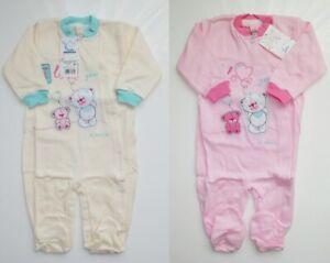 100% Cotton Baby girls babygrows 3-6 months NEW Pyjamas SLEEPSUITS
