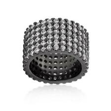 Black Hematite Round Cut Pave Set Wide Row CZ Eternity Cocktail Ring Band~Size 6