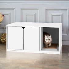 Eco Cat Litter Box, Enclosed Kitty Litter Furniture with Scratch Pad, White