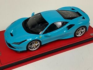 1/18 MR Collection Ferrari F8 Tributo Coupe in Baby Blue on Red Leather Base