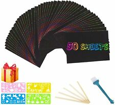 ARPDJK Scratch Art Paper Set for Kids 50 Sheets Rainbow Black