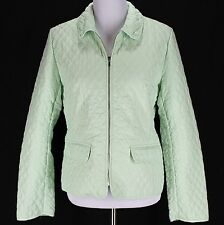 Ann Taylor Loft Quilted Jacket Coat Sz 10 Green Lightweight Spring Zip Front