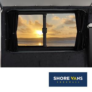 VW Transporter T5 T5.1 T6 Blackout Curtains BARN DOOR LWB FULL SET BLACK