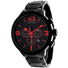 BRAND NEW ARMANI EXCHANGE AX1352 BLACK & RED CHRONOGRAPH DIAL STEEL MEN'S WATCH