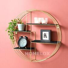 NEW Gold Metal and Wood Shelving Shelf Rack Storage Display Wall Home Decor