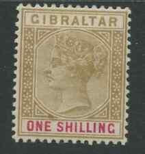 Gibraltar SG45 1898 réédition en Sterling monnaie 1 S bistre et Carmine monté M