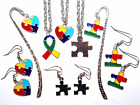 PUZZLE PIECE AUTISM AWARENESS EARRINGS * NECKLACE * BOOKMARK * U PICK * USA MADE