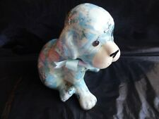 More details for glazed paper mache dog puppy figurine blue floral shabby cottage chic 15 cm tall