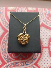 Vintage 9ct Gold Rose Necklace Pendant And Chain