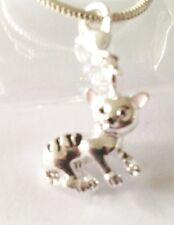 Lovely Silver Tortoise Shell Cat Clip on Charm for Bracelets-silver Plate -