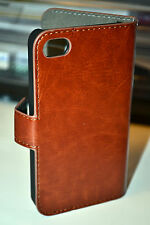 For iPhone 5/5s/SE Brown Genuine Leather Wallet Style Open Book Flip Case Cover