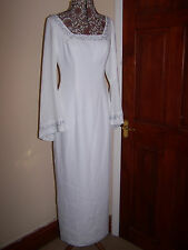 IVORY CREAM SILVER hippy boho sleeve FISHTAIL TRAIN WEDDING DRESS petite 10 12 h
