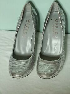 Office Silver/Grey Lucy court Heeled Shoe, Size 6 EU 39