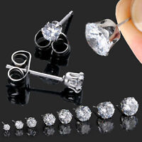 2pcs Mens Womens Stainless Steel Round 3-10mm Cubic Zirconia CZ Stud Earrings CH