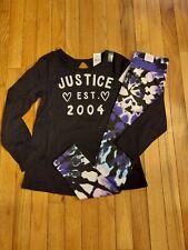NWT Girls Justice Logo Top/Tye Dye Leggings Size 10