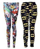 Ladies Girls Batman Logo Print Leggings Pants Women Black Full Length Trouser