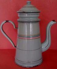 Antique French Enamelled Sheet Coffee pot Cafetière ancienne tôle émaillée