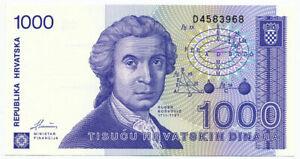 CROATIA, HRVATSKA - 1000 Dinara 8. 10. 1991. P22, UNC. (C019)