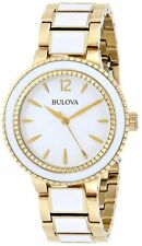 BULOVA WHITE DIAL WHITE CERAMIC & STAINLESS STEEL WOMEN'S WATCH 98L173 NEW