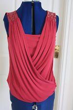 New Alexon size S (10 to 12) Majenta silky V neck & insert sleeveless sequin top